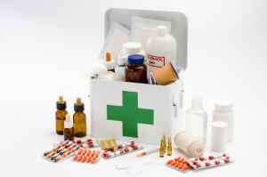 first aid kit filled with medical supplies